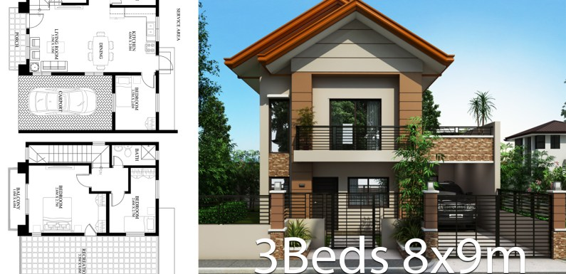 Home design plan 9x8m with 3 bedrooms