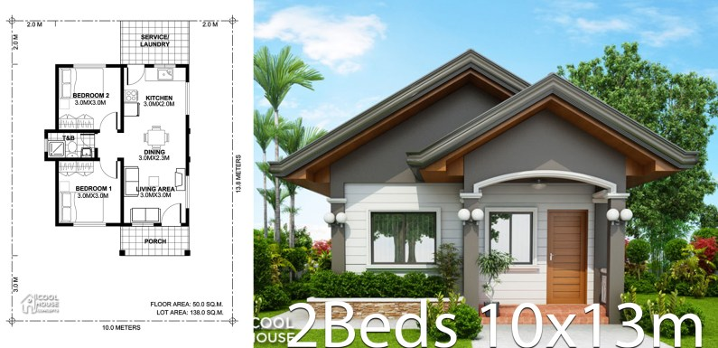 Home design plan 10x13m with 2 bedrooms