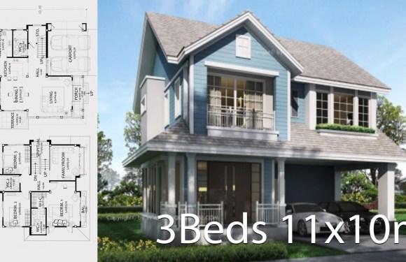 Home design plan 11x10meters with 3 bedrooms