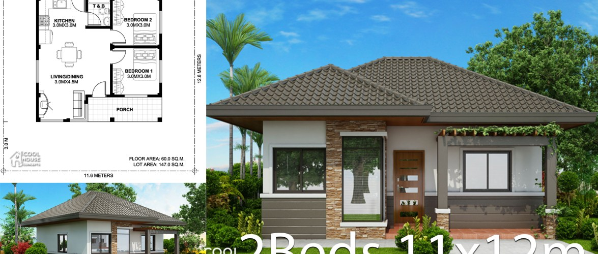 Home design plan 11x12m with 2 bedrooms