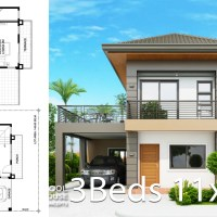 Home design plan 11x13m with 3 Bedrooms