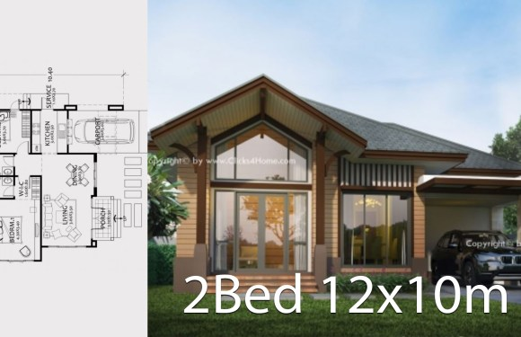 Home design plan 12x10m with 2 Bedrooms