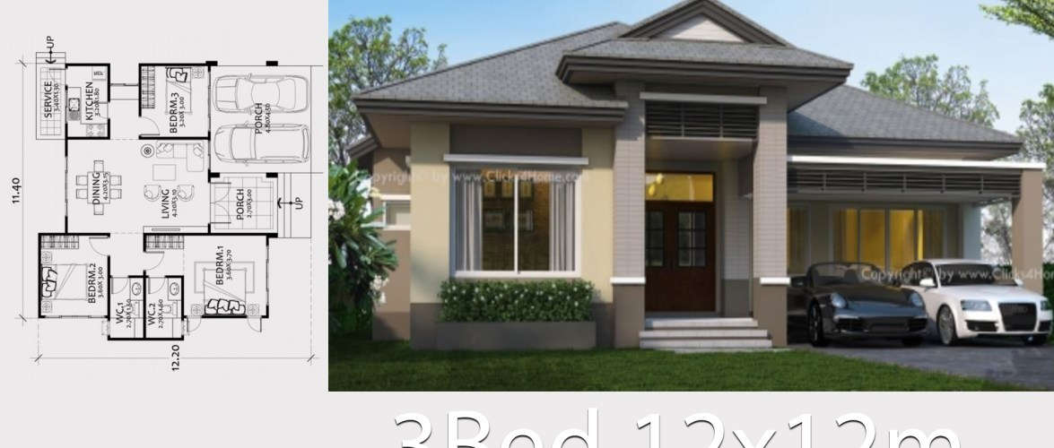 Home design plan 12x12m with 3 Bedrooms