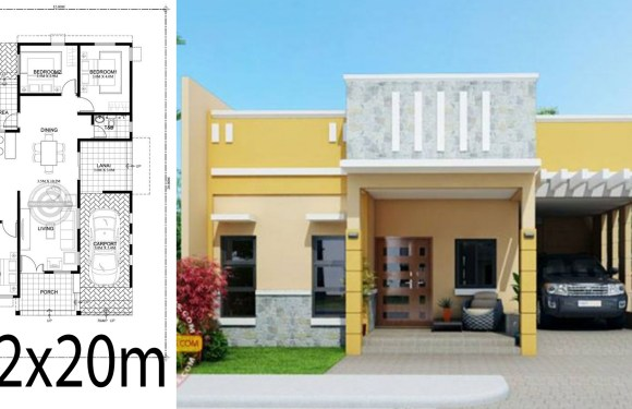 Home design plan 12x20m with 3 Bedrooms