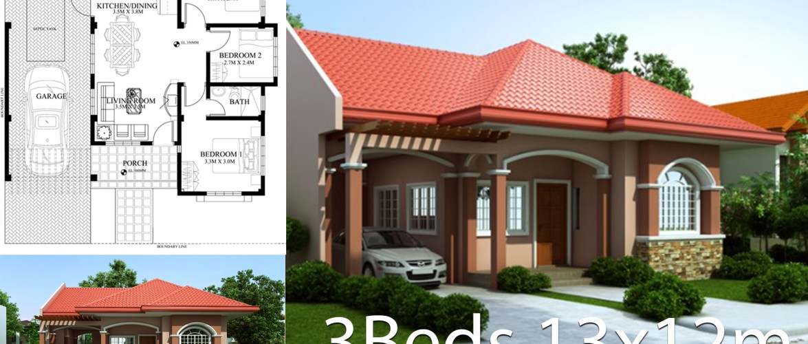 Home design plan 13x12m with 3 Bedrooms