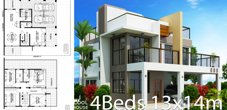 Home design plan 13x14m with 4 Bedrooms