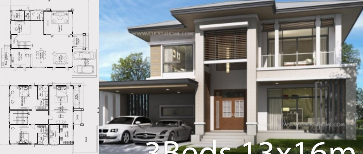 Home design plan 13x16m with 3 Bedrooms