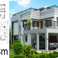 Home design plan 13x18m with 5 Bedrooms