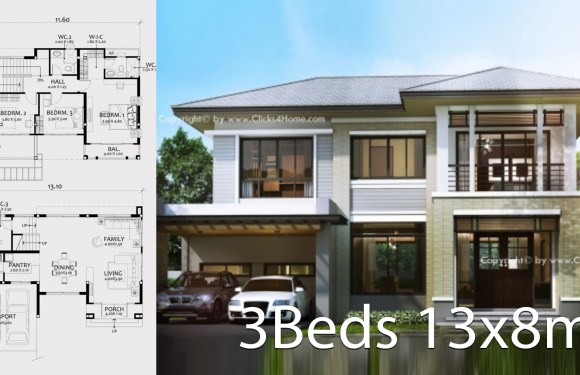 Home design plan 13x8m with 3 bedrooms