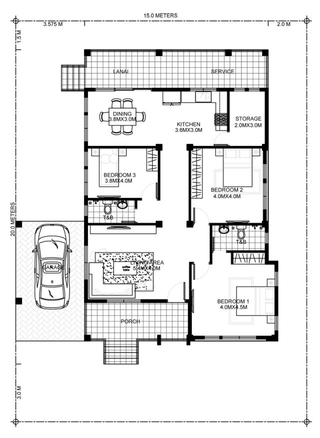 Home design plan 15x20m with 3 Bedrooms - Home Ideas