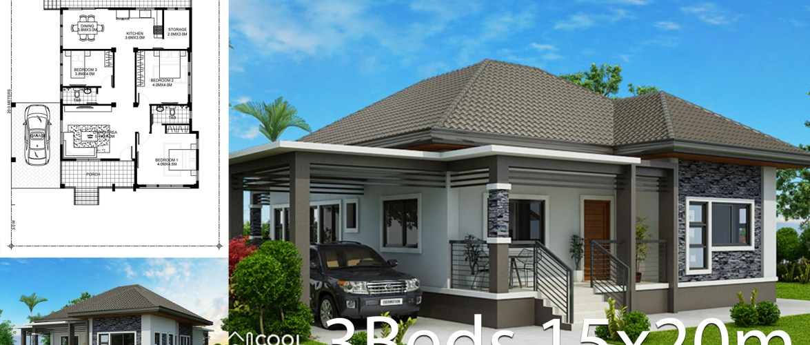 Home design plan 15x20m with 3 Bedrooms