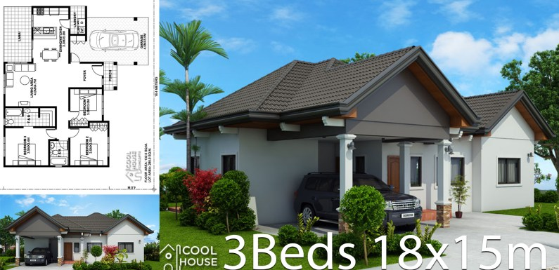 Home design plan 18x15m with 3 Bedrooms
