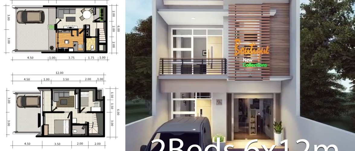 Home design plan 6x12m with 2 bedrooms