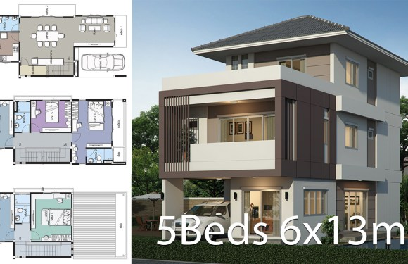 Home design plan 6x13m with 5 bedrooms