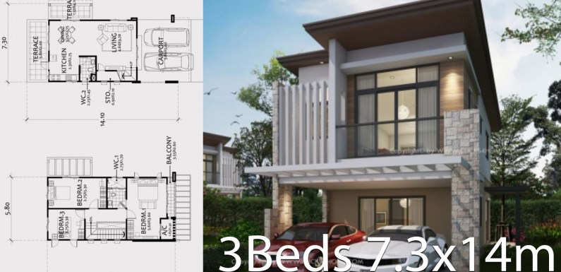 Modern style two-story house plan 7.3x14m