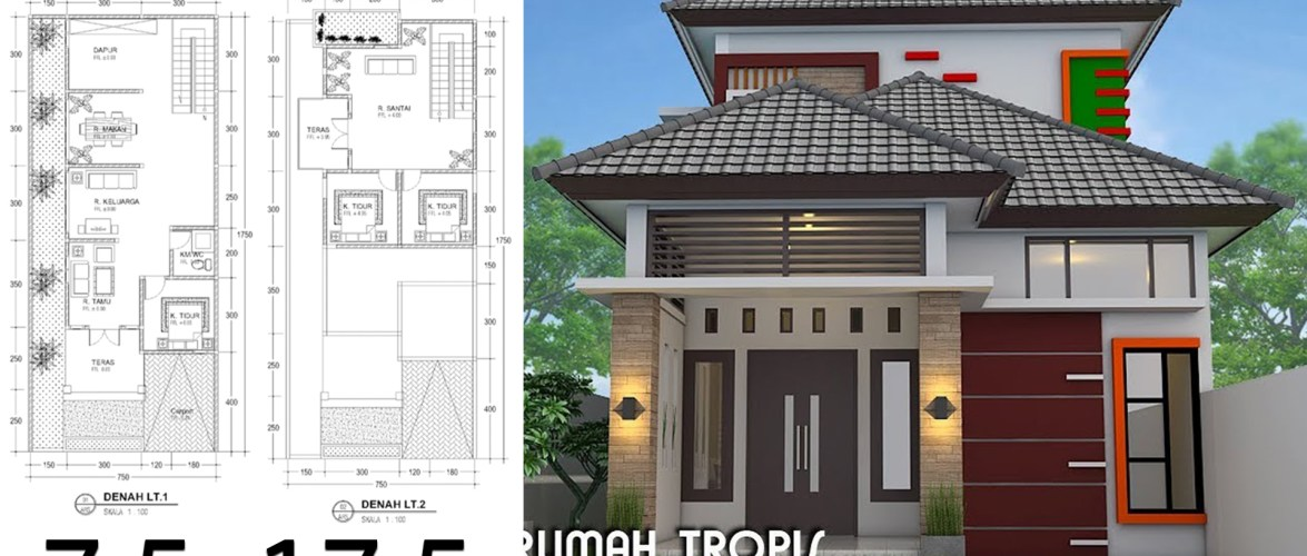 Home design plan 7.5×17.5m with 3 Bedrooms