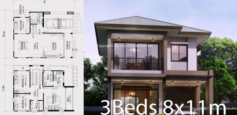 Home design plan 8x11m with 3 bedrooms
