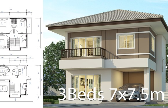 House design plan 7×7.5m with 3 bedrooms