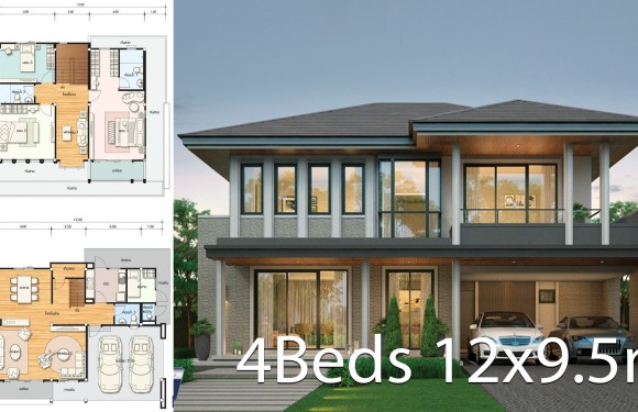 House design plan 12×9.5m with 4 bedrooms