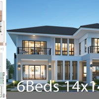House design plan 14x14.5m with 6 bedrooms