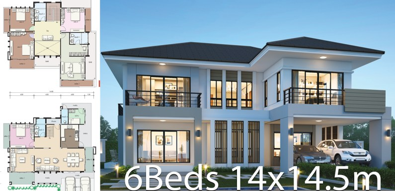 House design plan 14×14.5m with 6 bedrooms