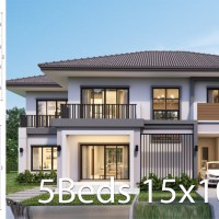 House design plan 15.5x10.5m with 5 bedrooms