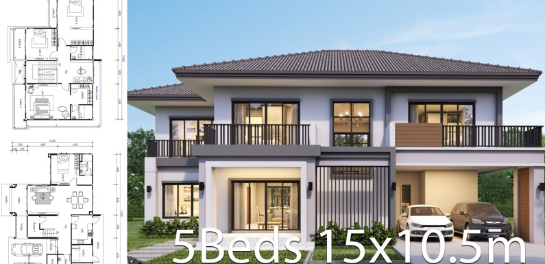 House design plan 15.5×10.5m with 5 bedrooms