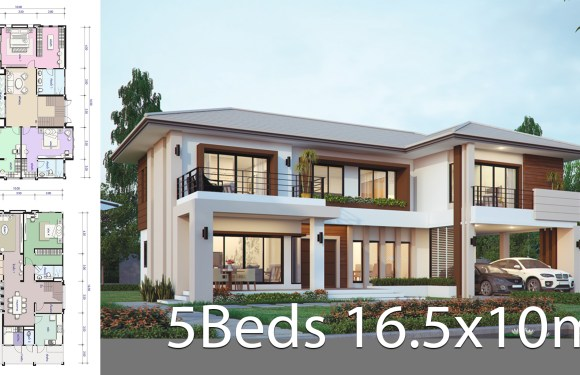 House design plan 16.5x10m with 5 bedrooms