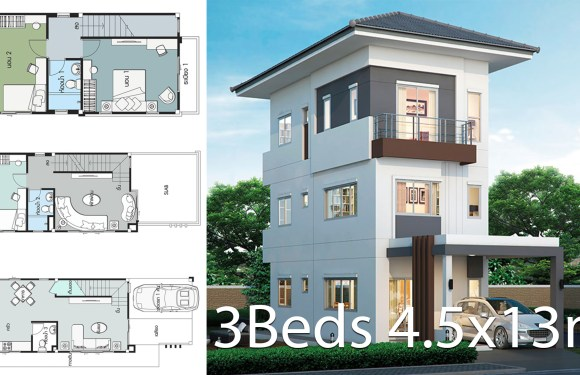 House design plan 4.5x13m with 3 bedrooms