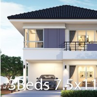 House design plan 7.5x11.25m with 4 bedrooms