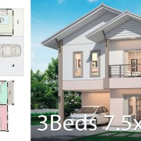 House design plan 7.5x7.5m with 3 bedrooms