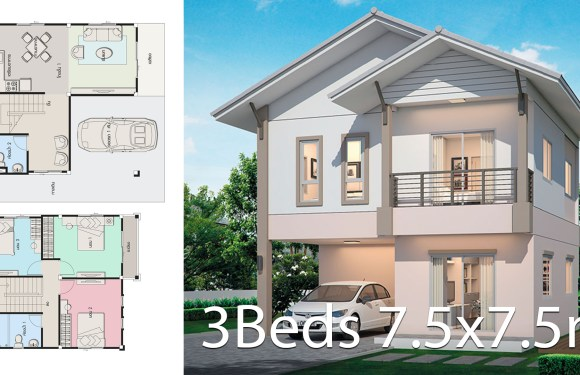 House design plan 7.5×7.5m with 3 bedrooms