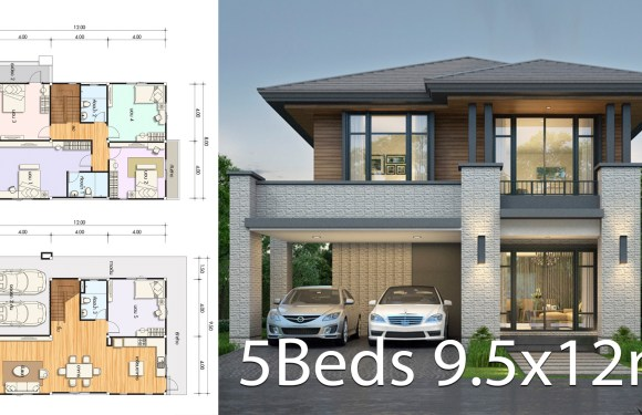 House design plan 9.5x12m with 5 bedrooms