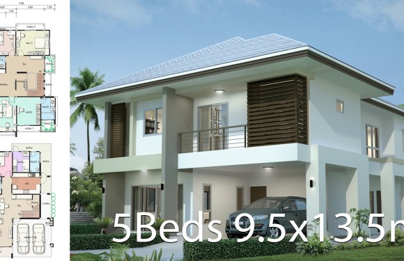 House design plan 9.5×13.5m with 5 bedrooms
