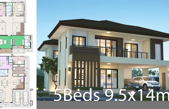 House design plan 9.5x14m with 5 bedrooms