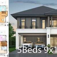 House design plan 9x10.5m with 5 bedrooms