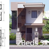 Small Home Design Plan 5x5.5m with 2 Bedrooms