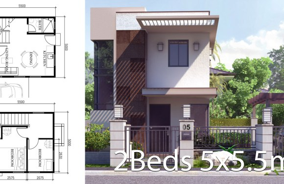 Small Home Design Plan 5×5.5m with 2 Bedrooms