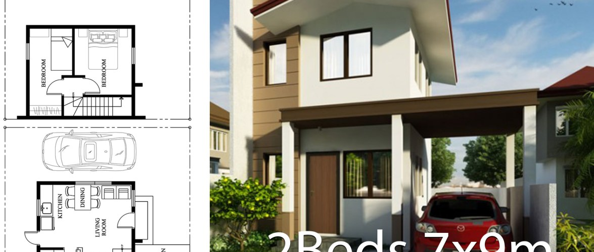 Small Home Design Plan 7x9m with 2 Bedrooms