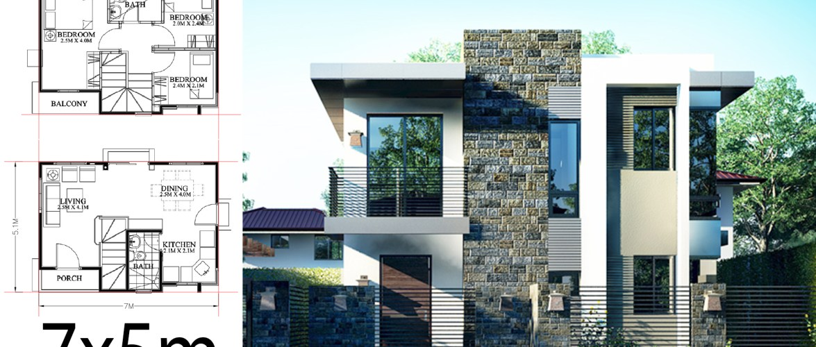 Small Home design plan 7x5m with 3 Bedrooms
