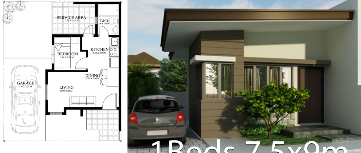 Small home design plan 7.5x9m with One Bedrooms