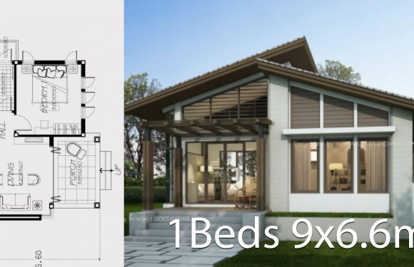 Small home design plan 9×6.6m with one bedroom