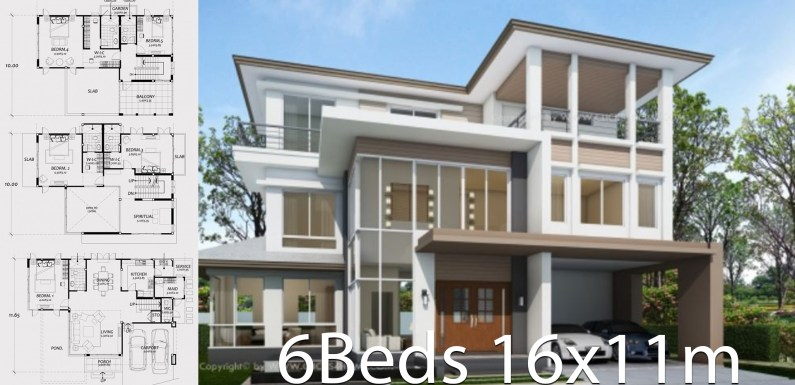 Home design plan 16x11m with 6 bedrooms