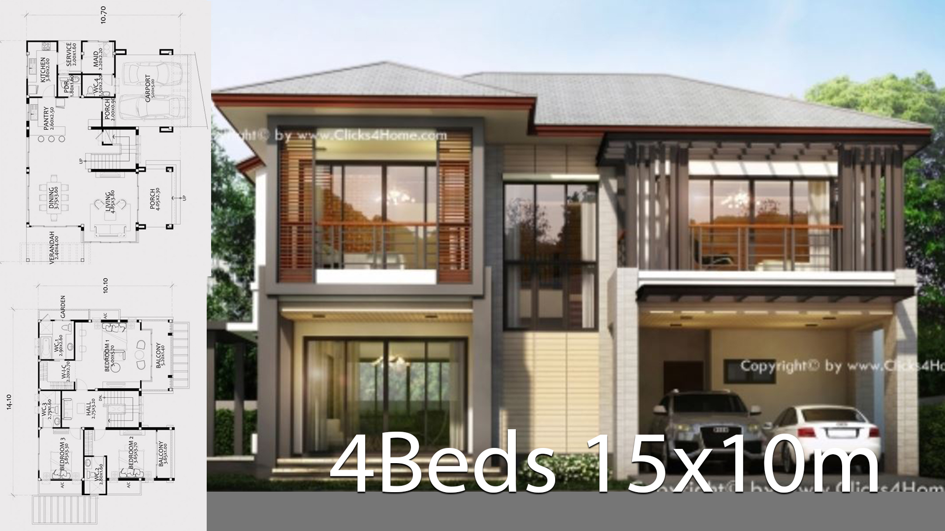 Home design plan 15x10m with 4 bedrooms - Home Ideas