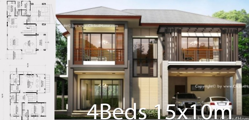 Home design plan 15x10m with 4 bedrooms