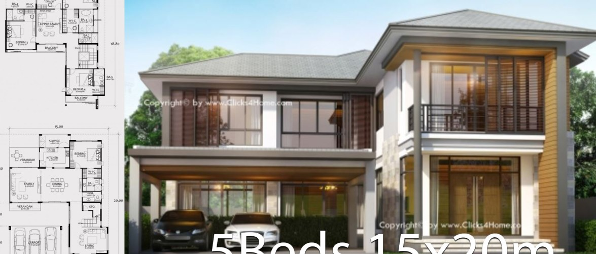 Home design plan 15x20m with 5 bedrooms