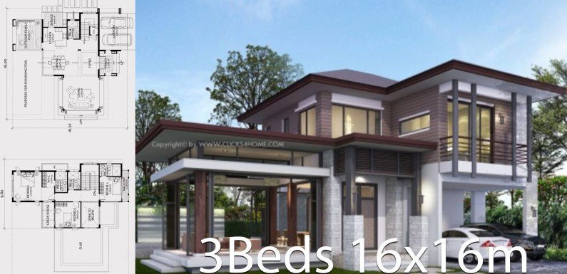 Home design plan 16x16m with 3 bedrooms
