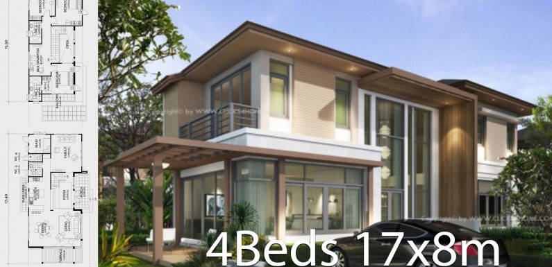 Home design plan 17x8m with 4 bedrooms