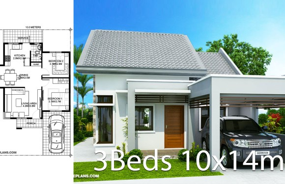 House design 10x14m with 2 bedrooms
