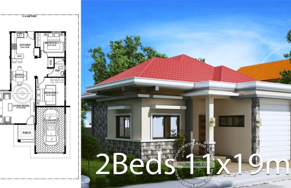 House design 11x19m with 2 bedrooms